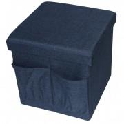 Taburet din material textil cu buzunare spatiu depozitare, negru,  38 x 38 cm, Navy