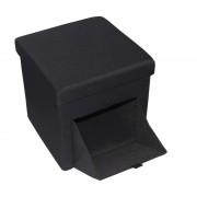Taburet  din material  textil cu spatiu depozitare, negru,  38 x 38 cm