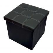 Taburet pliabil cu spatiu de depozitare, 38x38x38 cm, Grunberg (negru)