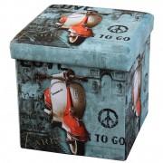 Taburet pliabil cu spatiu de depozitare, 38x38x38 cm, Grunberg