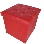 Taburet pliabil cu spatiu de depozitare, 38x38x38 cm, Grunberg (rosu)