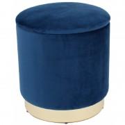 Taburet rotund Grunberg, spatiu de depozitare, tapitat cu catifea, baza din metal, Ø 37x40 cm, (albastru)