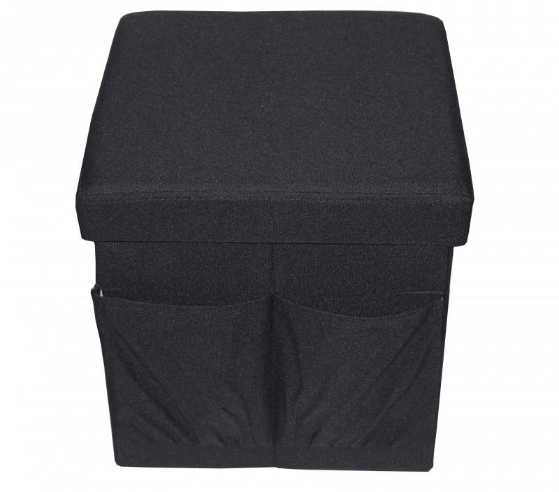 Taburet din material textil cu buzunare spatiu depozitare, negru,  38 x 38 cm