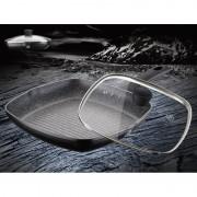 Tigaie grill cu capac din sticla, interior granit, 28 cm, Meisterklasse