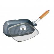 Tigaie grill  din aluminiu cu interior teflon si maner detasabil, 20 cm, Grumberg