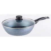Tigaie wok din aluminiu Grunberg, Interior/exterior din ceramica, Capac din sticla, 3.30 l, 28cm
