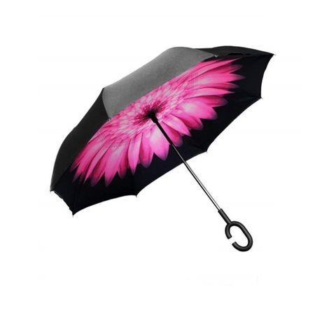 Umbrela de ploaie cu Imprimeu Interior Purple Flower, 106 cm